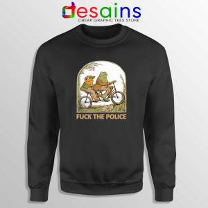 Sweatshirt Black Fuck The Police Crewneck Sweater Frog And Toad