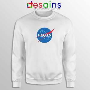 Vegan Nasa Logo White Sweatshirt Veganism Cheap Crewneck Sweater