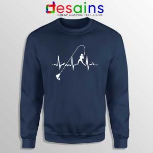 Fishing Heartbeat Navy Sweatshirt Crewneck Fishing Graphic Sweater
