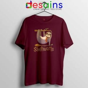 Slothwarts Sloth Hogwarts Maroon Tshirt Cheap Tee Shirts Harry Potter Sloth