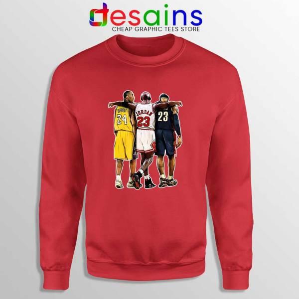 Kobe Bryant x Michael Jordan x Lebron James Red Sweatshirt NBA