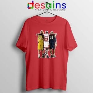 Kobe Bryant x Michael Jordan x Lebron James Red Tshirt Cheap Tees Shirts