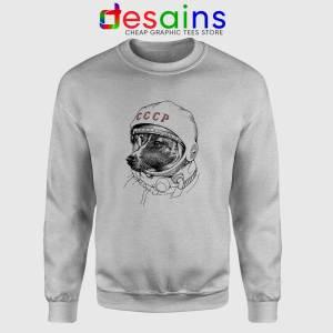 Laika Dog Space Traveler Sport Grey Sweatshirt Laika Dog Crewneck Sweater