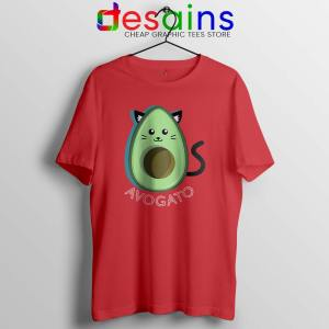 Avogato Avocado Red Tshirt Funny Avocado Cat Tee Shirts S-3XL