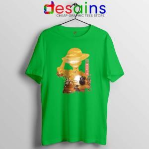 One Piece Manga Luffy Lime Green Tshirt Posters One Piece Tee Shirts