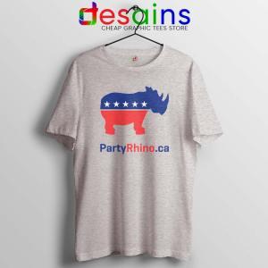 Rhino Party Logo Sport Grey Tshirt Rhinoceros Party Tee Shirts S-3XL