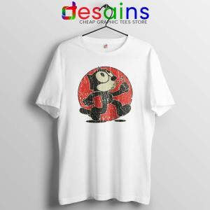 Felix the Cat Vintage White Tshirt Cartoon Character Tee Shirts S-3XL