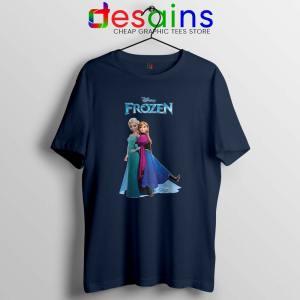 Frozen Anna and Elsa Navy Tshirt Frozen 2 Film Tee Shirts S-3XL