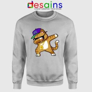 Hip Hop Dabbing Cat Sport Grey Sweatshirt Funny Kitten Dance Sweater