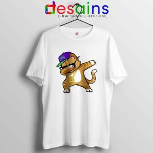 Hip Hop Dabbing Cat wHITE Tshirt Funny Kitten Dance Tee Shirts