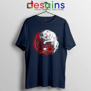 Dragon and Wolf Navy Tshirt Yin and Yang Tee Shirts
