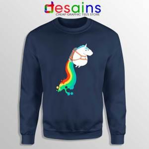 Funny Fat Unicorn Navy Sweatshirt Unicorn on Rainbow Jetpack Sweater