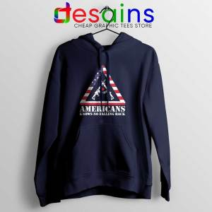 American Knows No Falling Back Navy Hoodie Independence Day