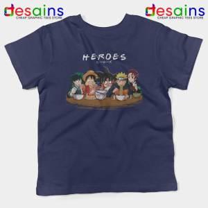 Best Anime Superheroes Friends Navy Kids Tshirt Manga Youth