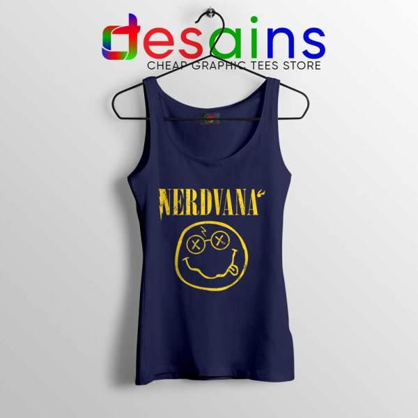 Nerdvana Smiley Navy Tank Top Nirvana Smiley Face Tops S-3XL