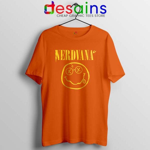 Nerdvana Smiley Orange Tshirt Nirvana Smiley Face Tee Shirts