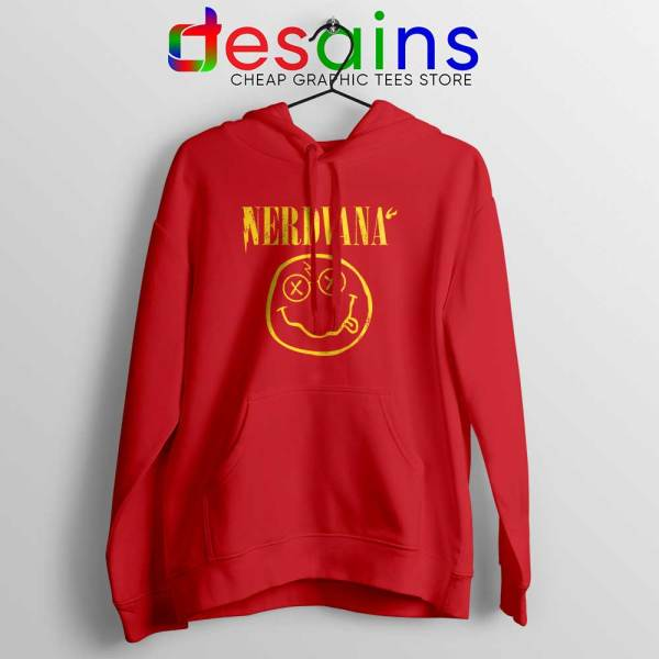 Nerdvana Smiley Red Hoodie Nirvana Smiley Face Hoodies S-2XL