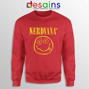 Nerdvana Smiley Red Sweatshirt Nirvana Smiley Face Sweater