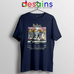The Beatles 60th Anniversary Navy Tshirt The Beatles Merch Tees