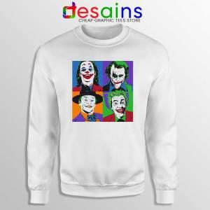 Joker Movie Pop Art White Sweatshirt DC Comics Merch Sweaters