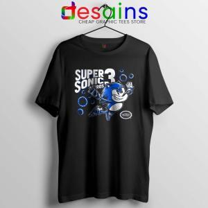 Sonic in Super Mario Bros 3 Black Tshirt Super Hedgehog Bros Tees