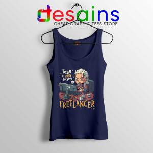 Tos A Coin To Your Freelancer Navy Tank Top The Witcher Tops Size S-3XL