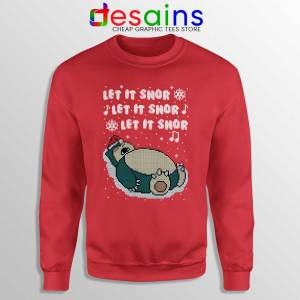 Ugly Christmas Snorlax Red Sweatshirt Let It Snor Sweaters S-3XL