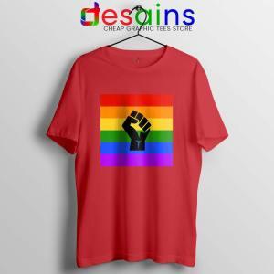BLM Pride Rainbow Red Tshirt Black Lives Matter Tee Shirts S-3XL