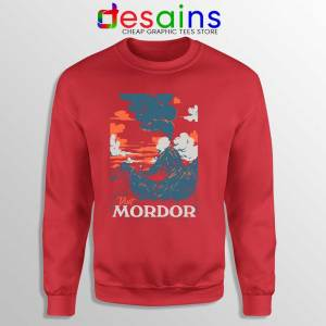 Visit Mordor Middle Earth Red Sweatshirt Arch Villain Sauron Sweaters
