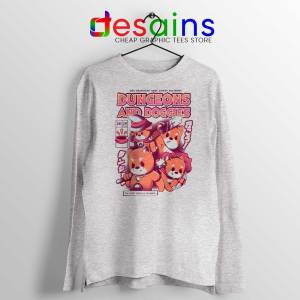 Dungeons Doggies SPort Grey Long Sleeve Tshirt Dungeons and Dragons