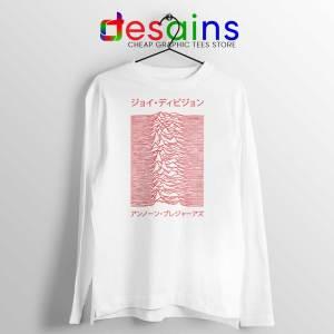 Japanese Joy Division White Long Sleeve Tshirt Unknown Pleasures Tees