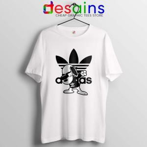 Snoopy Dab Three Stripes White Tshirt Funny Adidas Dog Tee Shirts