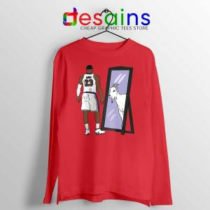LeBron James Mirror GOAT Red Long Sleeve Tee Los Angeles Lakers