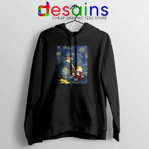 Calvin Hobbes Stary Night Black Hoodie Comic Strip Jacket