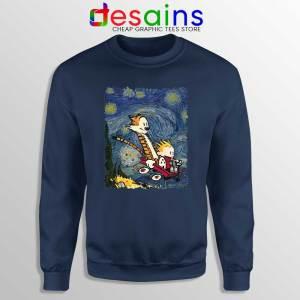 Calvin Hobbes Stary Night Sweatshirt Comic Strip Sweaters