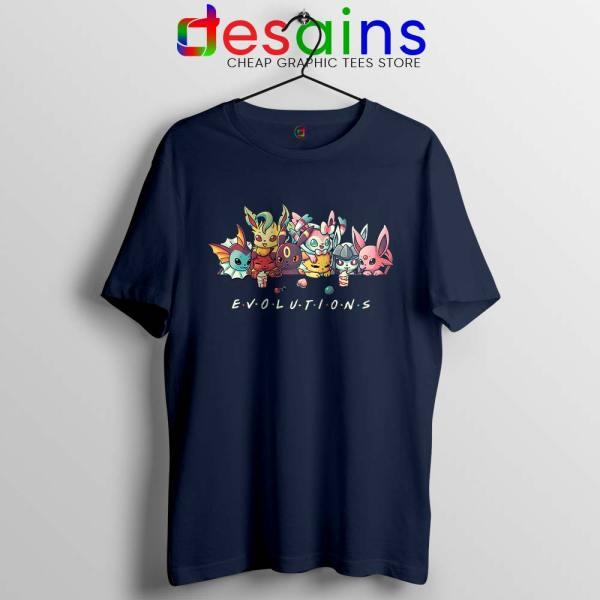 Eevee Evolution Friends Navy Tshirt Pokémon Go Tee Shirts