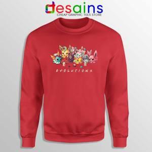 Eevee Evolution Friends Red Sweatshirt Pokémon Go Sweaters