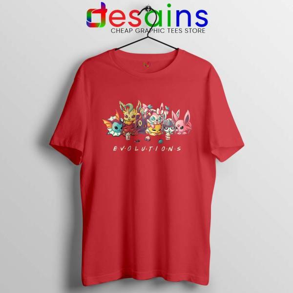 Eevee Evolution Friends Red Tshirt Pokémon Go Tee Shirts