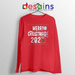 Merry Christmask Red Long Sleeve Tee Quarantine Ugly Christmas