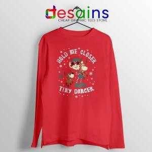 Tiny Dancer Elf Christmas Red Long Sleeve Tee Reindeer Cartoon Xmas