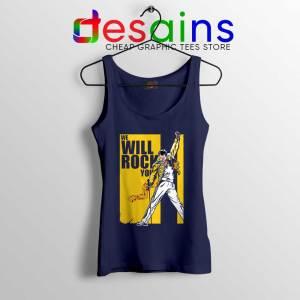 We Will Rock You Navy Tank Top Freddie Mercury Kill Bill Tops