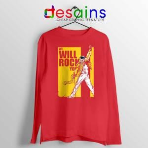We Will Rock You Red Long Sleeve Tee Freddie Mercury Kill Bill