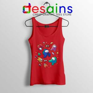 Among Us in Space Red Tank Top Impostors Crewmates Tops