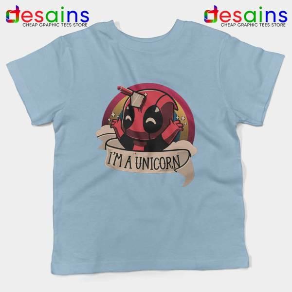 Im A Deadpool Unicorn Light Blue Kids Tee Marvel Comics Youth T-shirts