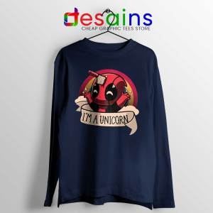 Im A Deadpool Unicorn Navy Long Sleeve Tee