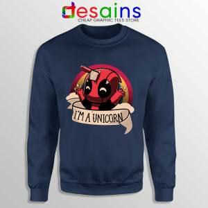 Im A Deadpool Unicorn Navy Sweatshirt Marvel Comics Sweaters