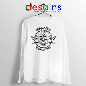 Pirate Skull and Crossbones White Long Sleeve Tee