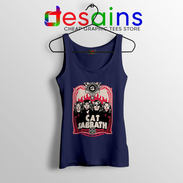 Cat Sabbath Band Navy Tank Top Funny Meow