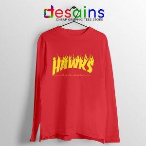 Hawks Logo Parody Red Long Sleeve Tee My Hero Academia