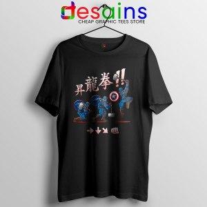 Captain America Shoryuken Black T Shirt Street Fighter